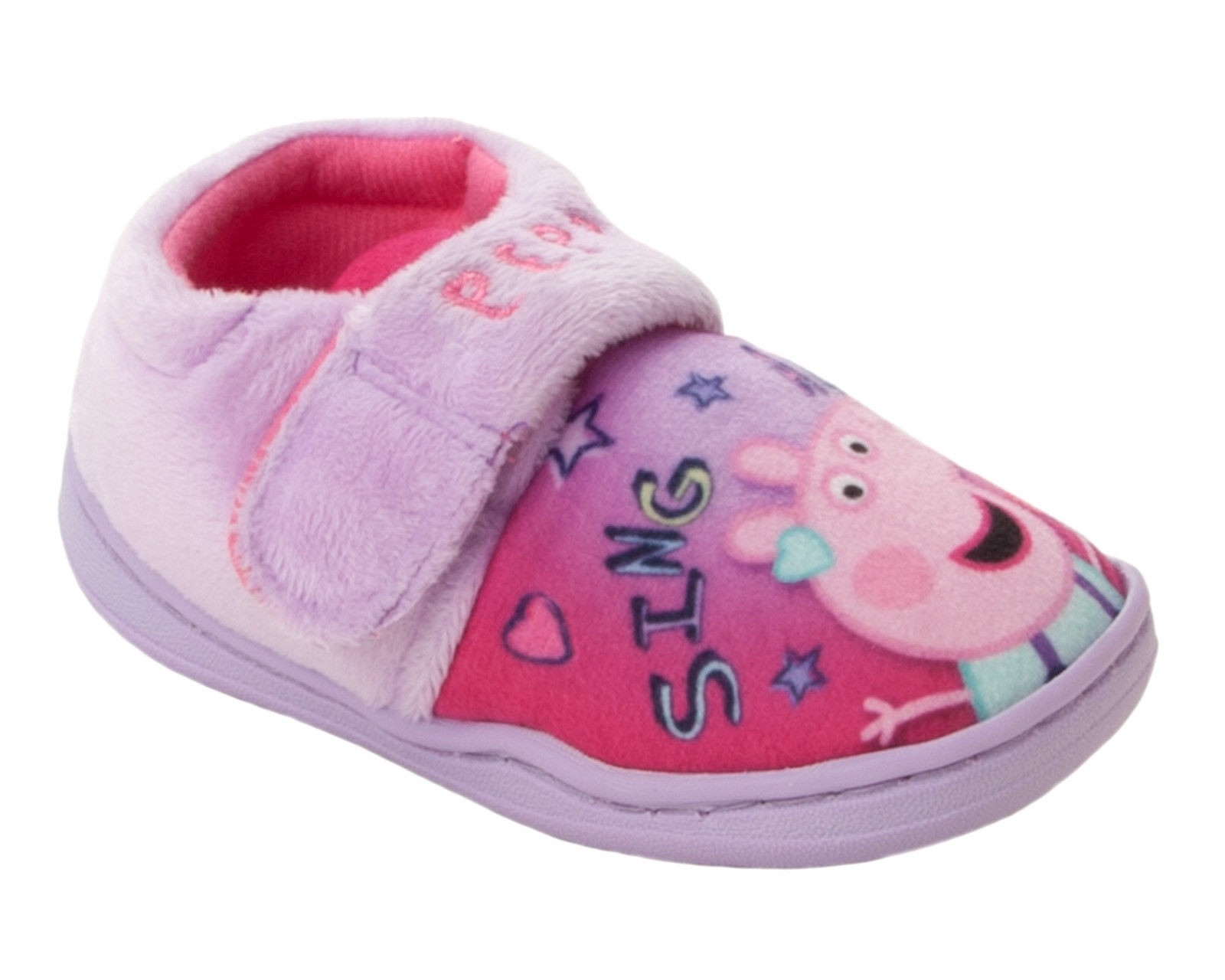GIRLS OFFICIAL PEPPA PIG CHARACTER NOVELTY PINK TOUCH FASTEN SLIPPERS SIZE 5-10