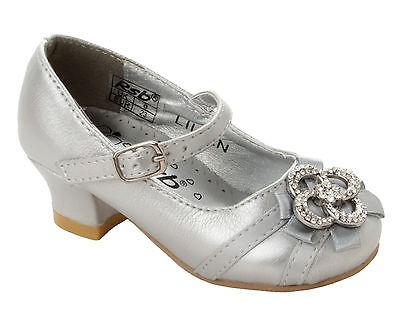 GIRLS SILVER DIAMANTE BRIDESMAID PARTY WEDDING FORMAL SANDALS SHOES