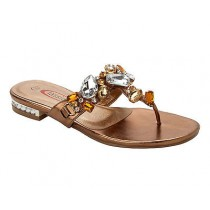 WOMENS BRONZE GEM DIAMANTE TOE POST SUMMER HOLIDAY BEACH SANDALS LADIES