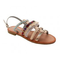 WOMENS BEIGE BOHO SUMMER HOLIDAY BEACH FESTIVAL FLAT SANDALS LADIES