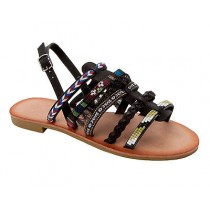 WOMENS BLACK BOHO SUMMER HOLIDAY BEACH FESTIVAL FLAT SANDALS LADIES