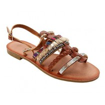 WOMENS TAN BOHO SUMMER HOLIDAY BEACH FESTIVAL FLAT SANDALS LADIES