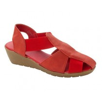WOMENS DOWN TO EARTH RED COMFORT ELASTICATED WEDGE SANDALS SHOES LADIES