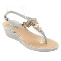 WOMENS SILVER FLOWER SUMMER HOLIDAY STRAPPY WEDGE SANDALS LADIES