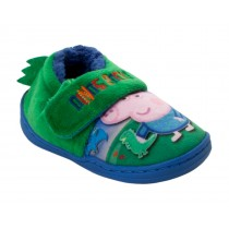 BOYS INFANTS OFFICIAL PEPPA PIG GEORGE CHARACTER TOUCH FASTEN SLIPPERS