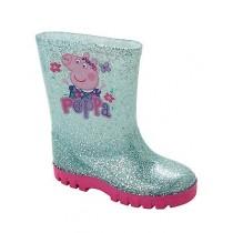 GIRLS PEPPA PIG BLUE GLITTER WELLIES WELLINGTON RAIN SNOW BOOTS WELLYS