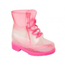 GIRLS PINK JELLY WELLINGTON RAIN LACE UP WELLIES WATERPROOF BOOTS