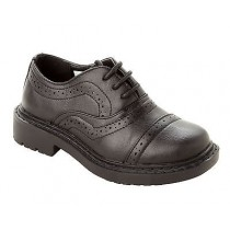 BOYS BLACK LACE UP OXFORD BROGUE SMART SCHOOL WEDDING FORMAL SHOES