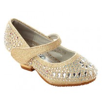GIRLS GOLD GLITTER DIAMANTE BRIDESMAID WEDDING PARTY SANDALS SHOES