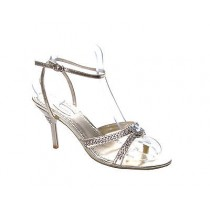 LADIES WOMENS GOLD PROM BRIDAL EVENING DIAMANTE ANKLE STRAP SANDALS SHOES
