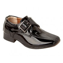 BOYS SCHOOL BLACK PATENT FORMAL WEDDING PAGE BOY SLIP ON SHOES KIDS