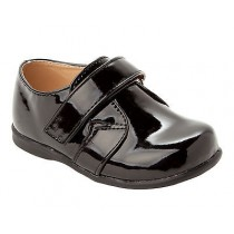 BOYS BLACK PATENT SMART WEDDING CHRISTENING PAGE BOY FORMAL SHOES