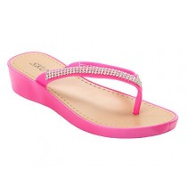 WOMENS PINK DIAMANTE WEDGE CASUAL BEACH FLIP FLOP SUMMER SANDALS LADIES