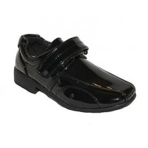 BOYS SMART BLACK PATENT WEDDING CHRISTENING PAGE BOY FORMAL SHOES KIDS