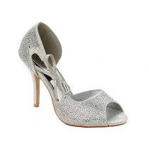 WOMENS SILVER GLITTER DIAMANTE BRIDAL EVENING WEDDING SANDALS SHOES LADIES